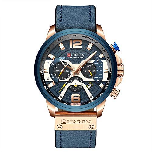 Orologio da uomo militare, cronometro, cronografo, cinturino in pelle, orologio al quarzo, colore blu e oro