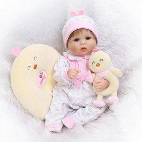 Nicery Reborn Born de Muñecas Vinilo de Silicona Suave para Niños y Niñas Cumpleaños 16-18 Inch 38-42 cm Juguetes Reborn…