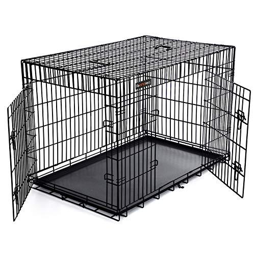 FEANDREA Jaula metálica para Perros Transportín Plegable para Mascotas Negro XXXL 122 x 76 x 81 cm PPD48H
