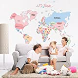 OLSR Mapa del mundo desmontable impermeable pegatina de pared Pegatinas Decorativas Adhesiva Pared Dormitorio Salón Guardería Habitación Bebés Infantiles Niños (F)
