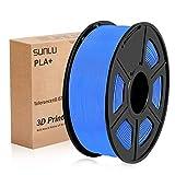 SUNLU 3D Printer Filament PLA Plus, 1.75mm PLA Filament, 3D Printing Filament Low Odor, Dimensional Accuracy +/- 0.02 mm, 2.2 LBS (1KG) Spool 3D Filament, Blue PLA+