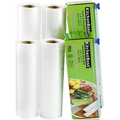 KitchenBoss Sottovuoto Sacchetti Alimenti 4 Rotoli 20x500 e 28x500cm Sacchetti per Sottovuoto con 2...