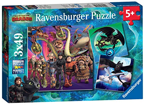 Ravensburger 08064 Dragons Puzzle, 3 x 49 Pezzi