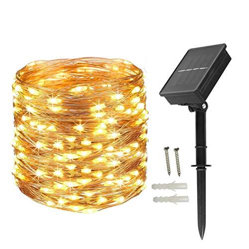 BXROIU Catena di luci a LED a energia solare, 200 LED in filo di rame da 22 metri, impermeabile...