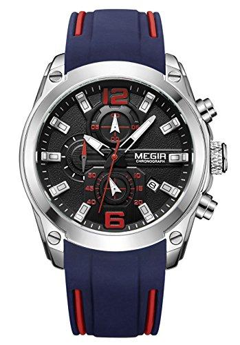 MEGIR - Orologio impermeabile da uomo, con cinturino in silicone, orologio al quarzo, bracciale con cronografo sportivo alla moda, blu