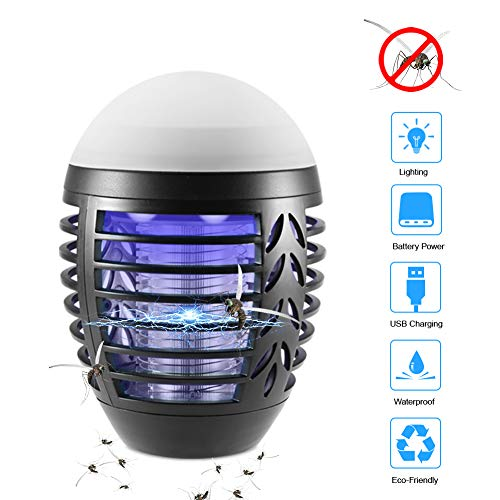 ZOTO Lampada Antizanzare, Zanzariera Elettrica con Batteria Ricaricabile USB 2200mAh, IP66...