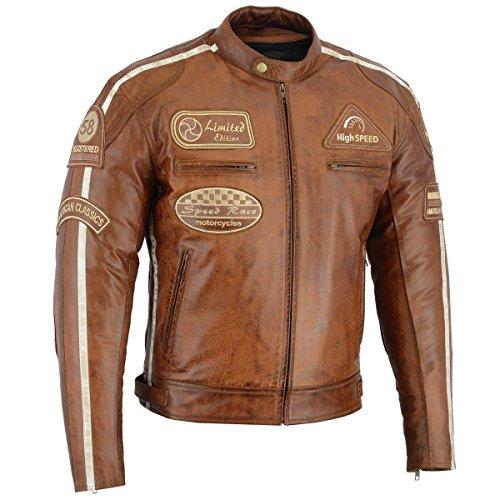 BOSmoto Herren Retro Biker Lederjacke Motorrad Jacke Race Streifen Rockerjacke Chopper 1