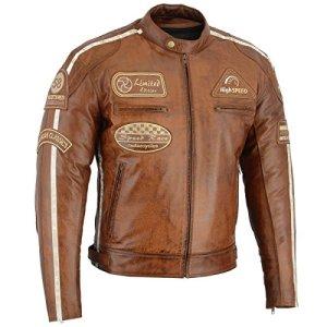 BOSmoto Herren Retro Biker Lederjacke Motorrad Jacke Race Streifen Rockerjacke Chopper 14