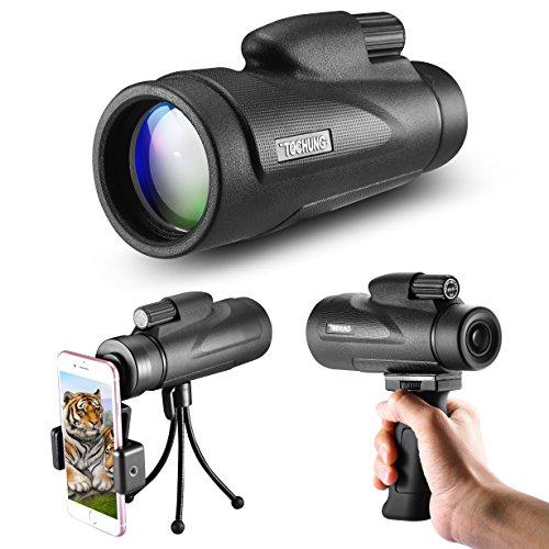 Fun Sponsor 12X50 Monokulares Hochleistungsteleskop mit Weitwinkelansicht und HD Zoom View, Wasserdicht, Mini Nachtsicht, optimal geeignet für Vogelbeobachtung/Jagd/Outdoor/Camping