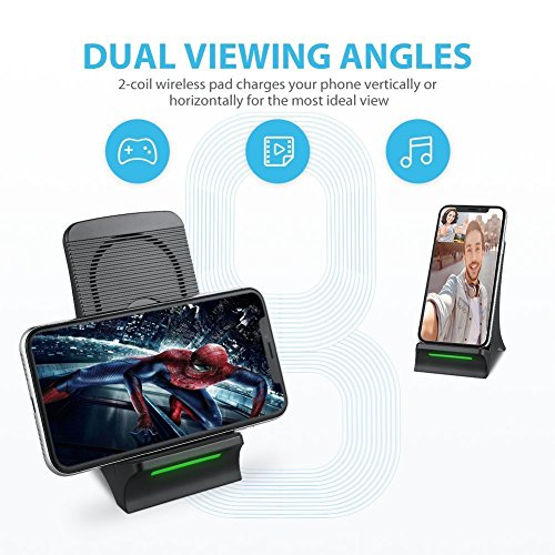 Caricatore wireless veloce NOVETE, con ventola di raffreddamento integrata, per Samsung Galaxy S8 plus, S8, S7, S7 Edge, S6 Edge Plus, Note 8 e Note 5, iPhone X, iPhone 8, iPhone 8 Plus … (M)