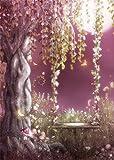 YongFoto 1,5x2,2m Vinilo Fondo de Fotografia Cuento de Hadas Bosque Paisaje Romántico Luz de La Luna Columpios en el árbol Telón de Fondo Photo Booth Infantil Party Banner Niños Photo Studio Props