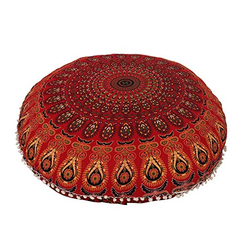 Devanshi art creations Red Dacota Mandala Tapestry Round Small Floor Pouf Pouffe Cushion Seating Ottoman Pillows Cover without Filler 22 inches