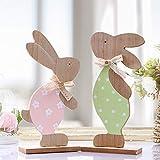 Victor's Workshop Pezzi 2 Decorativo di Pasqua Ornamenti in Legno con Fiocco 24 cm per la Decorazione della casa - Rosa/Verde