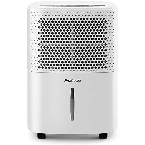 Pro Breeze Deumidificatore 12L, Display Digitale, Drenaggio Continuo, Portatile con 4 Modalità d'Uso, Timer e Asciugatura Bucato