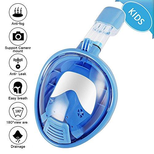 LeaningTech Tauchmaske, Faltbare Schnorchelmaske Tauchemaske Vollgesichtsmaske, mit 180° Blickfeld und Kamerahaltung für Gopro Kamera, Anti-Fog Anti-Leck