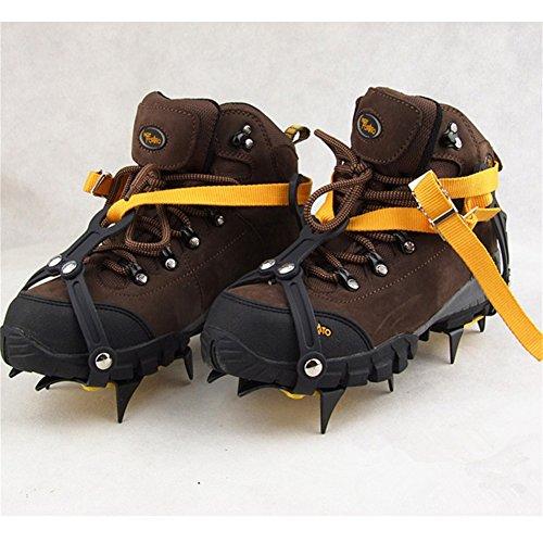 Pinchos para zapatos de nieve, antideslizantes, tipo de correa, Crampons, profesional, para escalada, cinturón de esquí, alta altitud por debajo de los 6 000 pies, para senderismo, nieve, pinchos de hielo, agarres, crampones, limpia, 10 dientes, aleación de manganeso (para zapatos de 36 a 45 talla de la UE, naranja, paquete de 2) 1