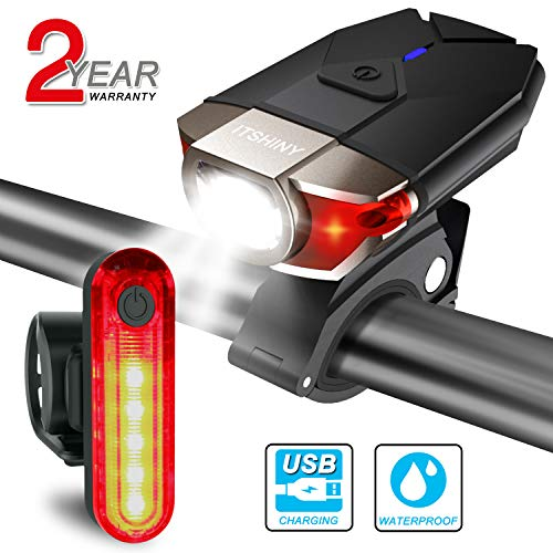 ITSHINY Set di luci per la Bicicletta Batteria Ricaricabili e luci LED Impermeabili per Moutain...