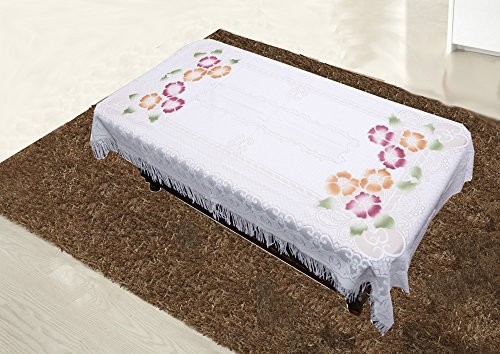 Kuber Industries Floral Cotton 4 Seater Centre Table Cover - Cream