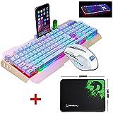 UrChoiceLtd 2017 Ajazz Schlacht Axt RGB LED 7 bunte Regenbogen-beleuchtete Multimedia-Ergonomie Usb Gaming-Tastatur + 2400DPI Gaming-Maus für Laptop-Computer (weiß / Gold) keyboard