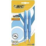 Bic Easy Clic Plume Standard Pack de 2 Stylos-Plume acier moyenne Couleurs Panachés