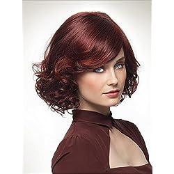 Meylee Pelucas Top Pop elegante rojo vino corto peluca con rizos de la parte inferior + una gorra de peluca gratis , picture color