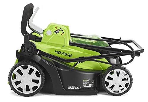 Greenworks 40V Cordless Lawn Mower 35cm folded down and compact design