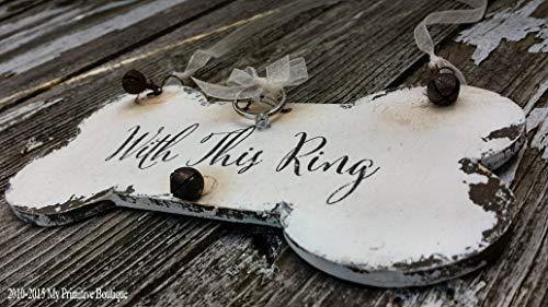 Claude16Poe Dog anello portatore segni Just Married segni segno per cani lavagna segni doppio con...