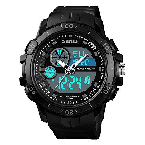 SKMEI Men Sports Outdoor Watch Dual Time Alarm Clock Day Date Waterproof Digital Wrist Watch (Black)