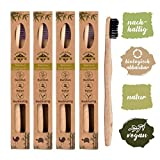 4x spazzolini in legno di bambù, vegano, biologico, biodegradabile, 100% senza BPA, carbone per una migliore pulizia