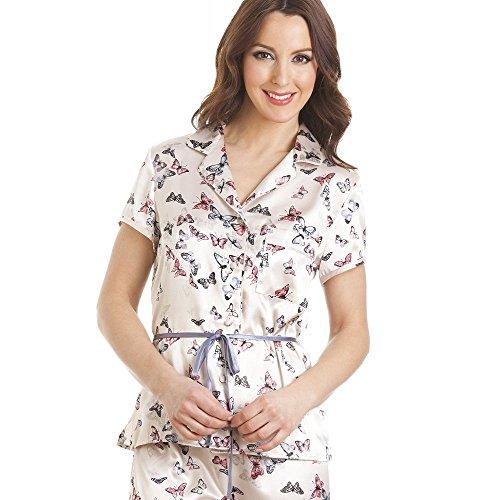 Conjunto de pijama de satén - Manga corta y cinturón - Estampado mariposas - Crema 44