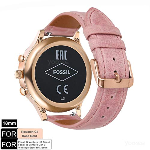 YOOSIDE Cinturino per Fossil Venture Watch Strap, 18mm Quick Release Cinturino da Donna Classico in Pelle per Fossil Q Venture Gen 3 / Gen 4, Fossil Women's Sport