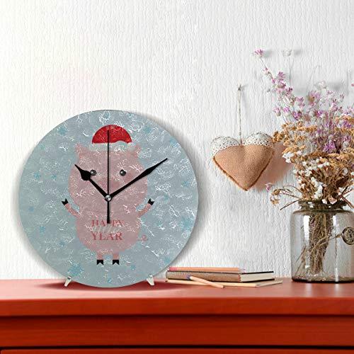 Orologio grande decorativo Felice anno nuovo maiale carino cartone animato Non-ticchettio rotondo...