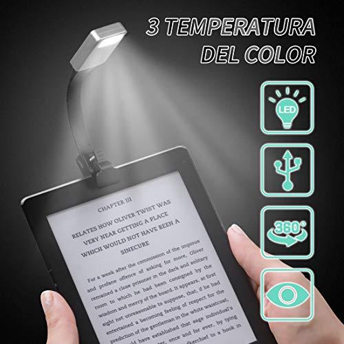 Gocheer mini usb Led lampada da lettura clip libro ricaricabile portatile,Luce da lettura a tre...