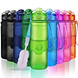 Best Sports Water Bottle- 500/700/1000ml- Reusable & BPA Free Leak Proof Drink Bottles With Filter- For Kids School,Gym,Running,Outdoor,Cycling- Lockable Flip Top Lid, Open With 1-Click- Green 17oz