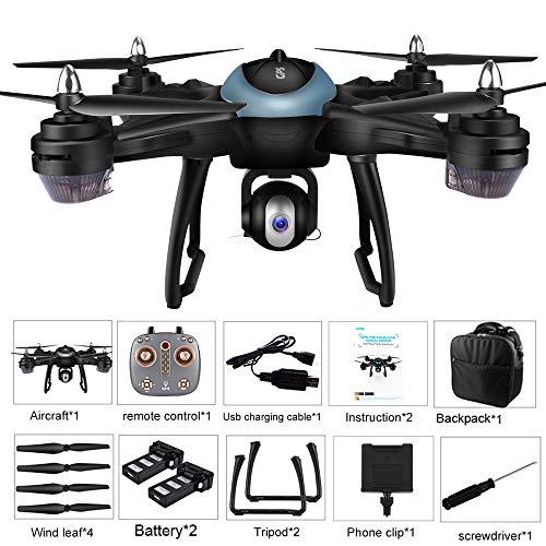 Bescita LH-X38G - Drone quadricottero Doppio GPS FPV con Fotocamera 1080 P HD con 2 pc 7,4 V 2500 mAh Batteria Lipo Pieghevole RC Quadcopter Drone con Zaino, Blu