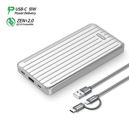 Zendure Slim USB-C powerbank 10000mah, bateria externa para movil, Cargador Portátil con 18W Power Delivery & QC 3.0 carga rápida para iPhone, Samsung Galaxy, Huawei, HTC, Nintendo Switch y más, Plata
