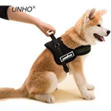 UNHO Arnés de Perro Cómodo Sin cinturón Collar Chaleco para Mascotas en el Pecho Material Duradero Transpirable Fácil de Andar Busto 50-60cm Tamaño XS Cloro Negro