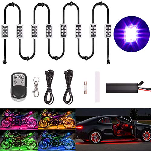 Goodway 8 Pcs Kit luce a LED Multicolore Telecomando senza fili Automobile Atmosfera moto Luci al...