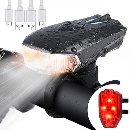 WOSTOO Luce della Bici del LED, Set di luci per la Bicicletta USB con 5 modalità Luce, Batteria al Litio 1200 mAh LED di Lumen Impermeabile con Il Faro Posteriore per Pilota Notturno, Ciclismo