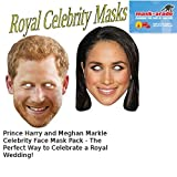 Prince Harry and Meghan Markle Royal Celebrity Face Mask Pack for Fancy Dress, Birthdays, Weddings, Hen/Stag Dos