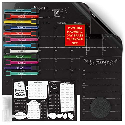 ARTEZA Set Planner Lavagna Nera Magnetica Mensile (43.4x33.3cm Calendario, 22,8x15,2cm Lista Cose da...
