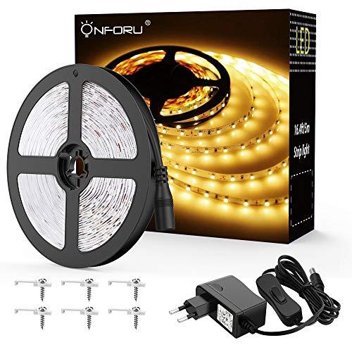 Onforu 5M LED Strip mit Netzteil | LED Streifen 300 LEDs Lichtband mit AN/AUS-Schalter 3000K Warmweiß | Selbstklebend 2835 LED Band | Innenbeleuchtung für Küche, unter Schrank, Party, Haus Deko