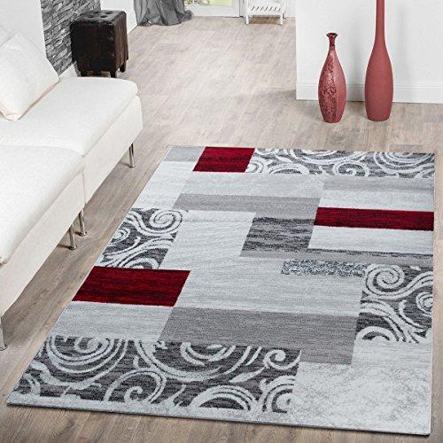 T&T Design Tappeto Conveniente Design Patchwork Tappeto Moderno Per Soggiorno In Grigio Rosso...