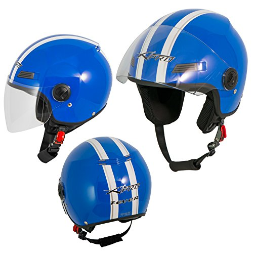 A-Pro Motorradhelm Motorrad Roller Offenes Jet Helm Viser ECE 22 SonicMoto 1