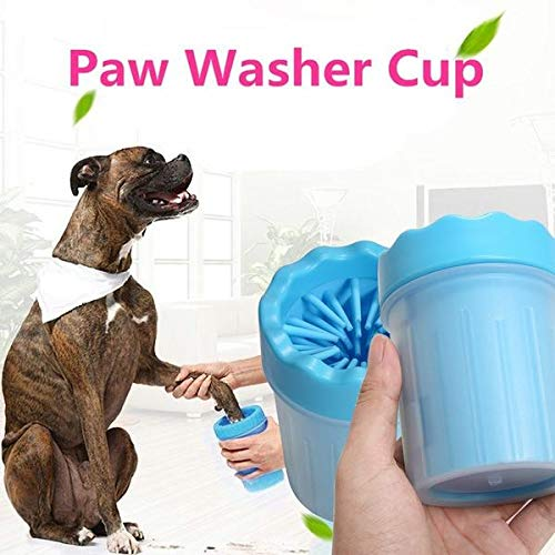Sage Square Portable Dog Paw Washer Cum Foot Cleaner or Paw Cleaner - Soft Silicone Plunger to Scrub Each Foot & Wash Away Dirt, Mud & Debris for Dogs/Puppies/Cats (Blue)