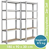 Juskys 2er-Set Lagerregal Eco 2X 180x90x30cm I 1750kg Traglast I 10 Böden I Schwerlastregal Kellerregal Steckregal Metall-Regal