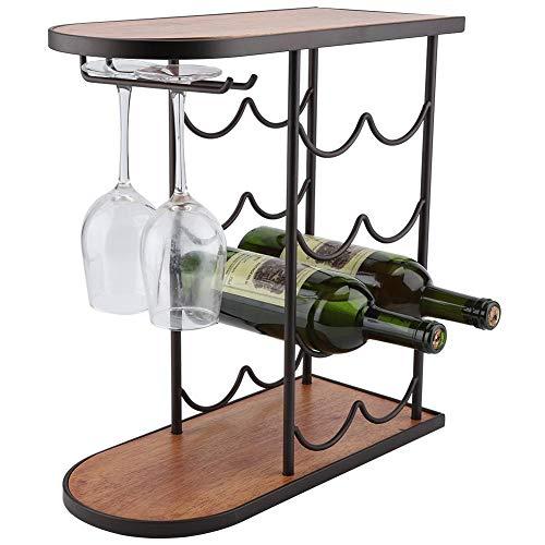 portabottiglie Vino Cremagliera del Vino, Cantinetta per vino in ferro e legno, Scaffale...