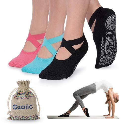 Ozaiic Calcetines Pilates Yoga Antideslizantes, Utilizar para Barre, Yoga, Pilates, Fitness Antideslizantes Calcetines