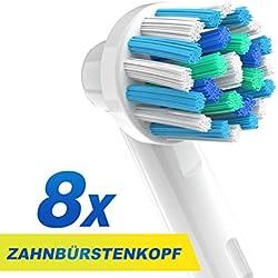 CARETIST Crossaction Aufsteckbürsten für Oral B Elektrische Zahnbürsten 8-er Pack. Cross Action Zahnbürstenaufsätze ist voll kompatibel mit Braun Oralb Vitality, Pro Health, TriZone, Advance Power, Professional Care, Triumph und Deep Sweep