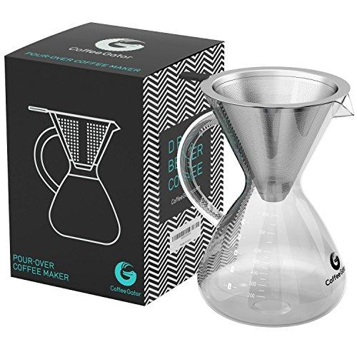 Coffee Gator 'Caffettiera pour Over con Filtro Permanente in Acciaio Inox e caraffa. Dripper zum...